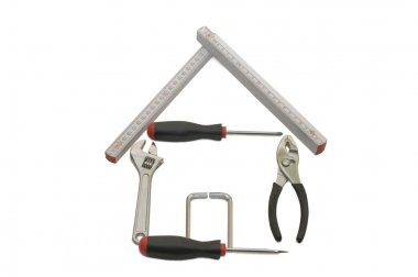 House from building tools isolated on wh