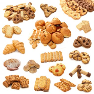 Collage from cookies isolated on white b