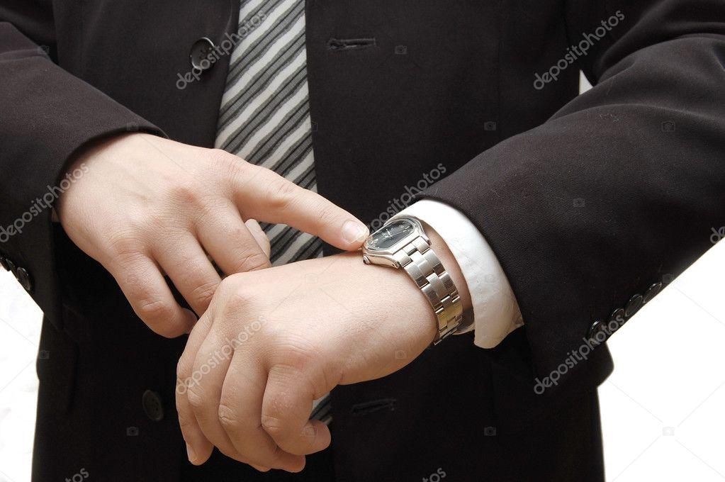 Podnikatel se hodinky s kabelku izolovaných na bílém — Fotografie od ... 3ae8befc78f