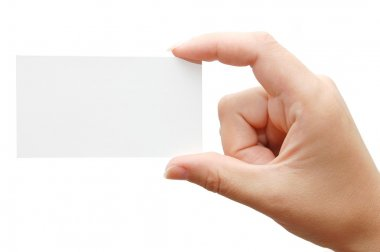 Paper card in woman hand