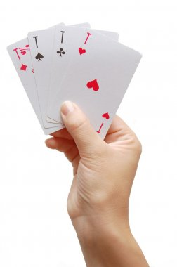 Player hand revealing Four Aces