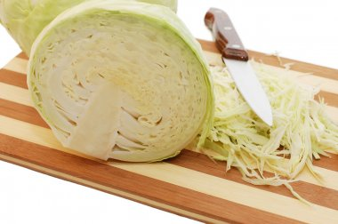 The cut cabbage isolated
