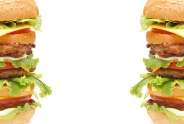 Double hamburger isolated