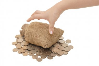 Hand reach for bags with coins