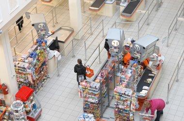 Top view on cash desks in a supermarket