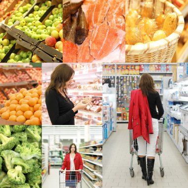 Collage from photos in a supermarket