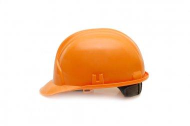 Orange helmet isolated on white background stock vector