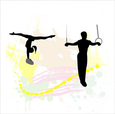 Silhouette of the sport gymnast