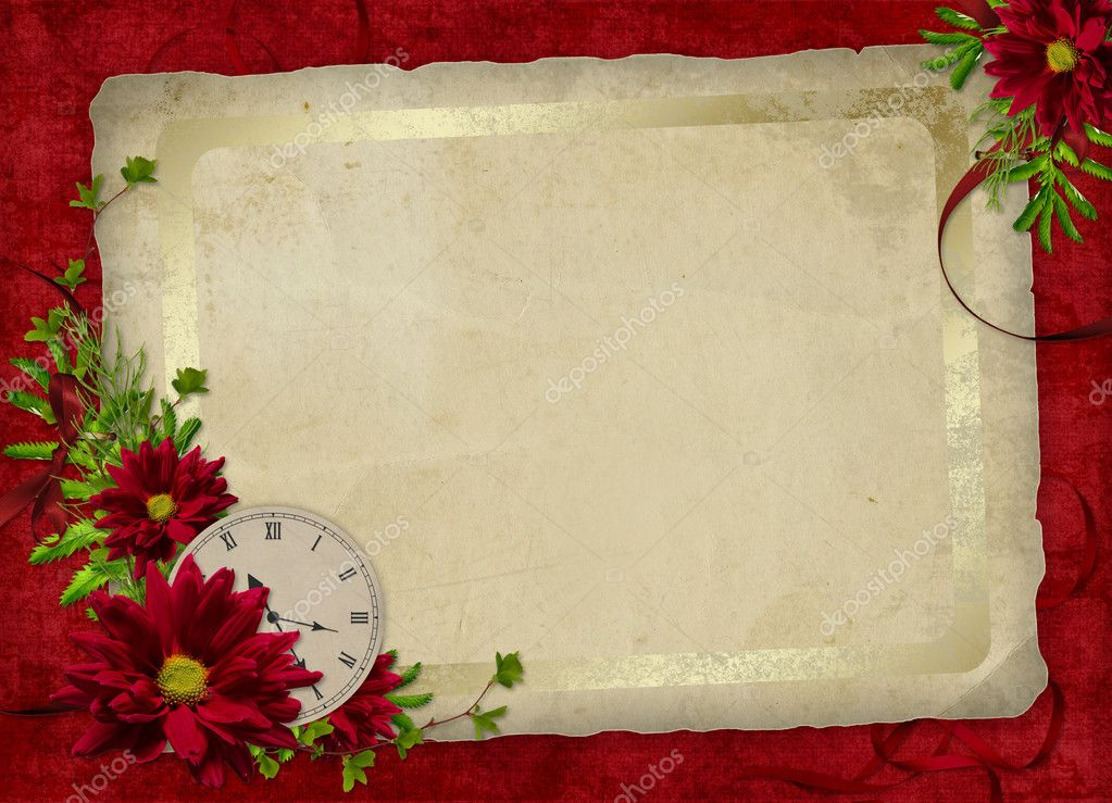 White frame with flowers and clock