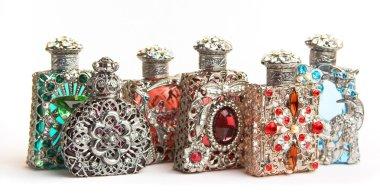 Five perfume bottles