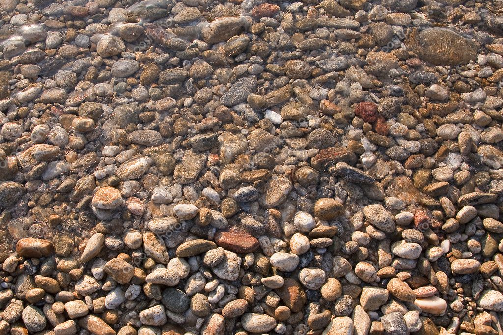 Pebbles near the water on the shore