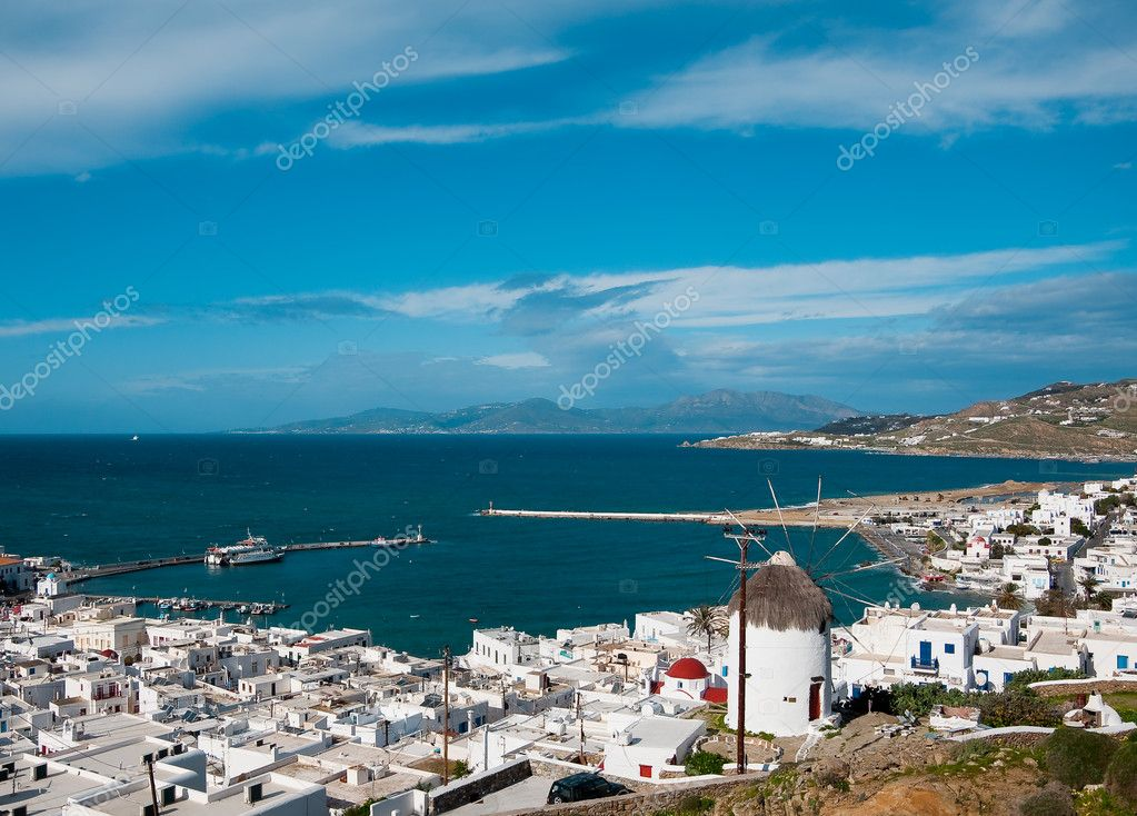 Top view of the port of Mykonos Island