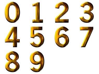 Set 3D golden digit