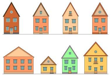 Set of houses. Vector editable illustration. stock vector