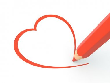 Red pencil drawing heart on white background stock vector