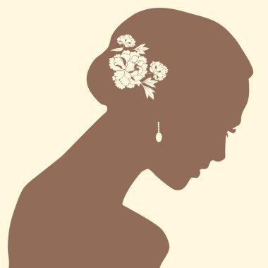 A beautiful woman portrait silhouette