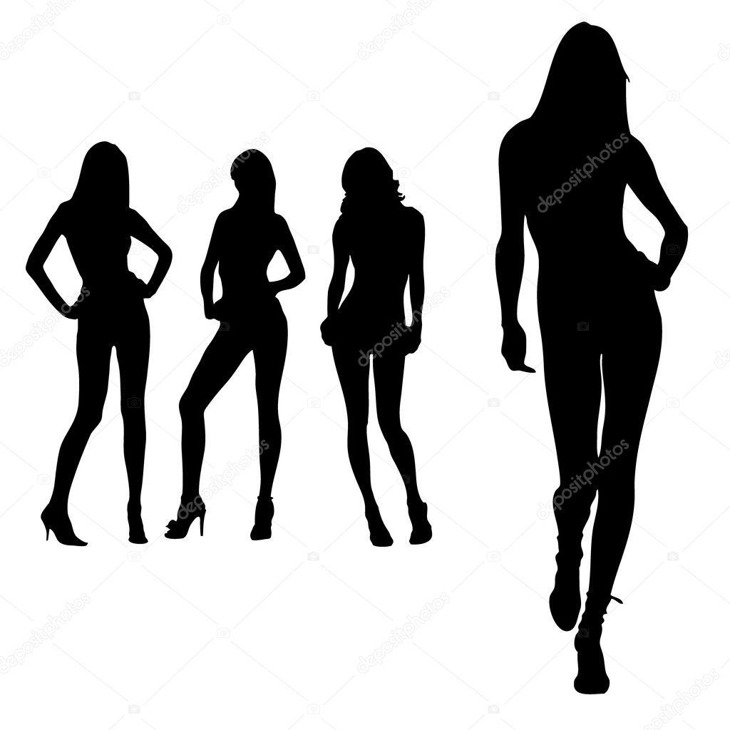 Beautiful long leged women silhouettes