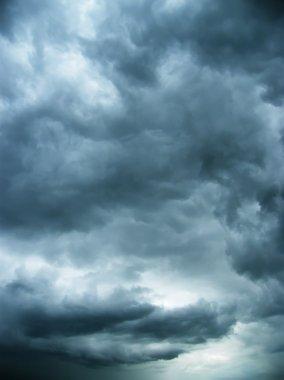 Darkly dark blue night sky, cold heavy clouds stock vector