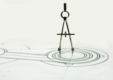 Compasses on the drawing