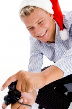 Happy caucasian man playing video games