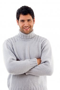 Handsome man wearing woolen sweater