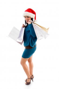 Christmas woman holding shopping bags