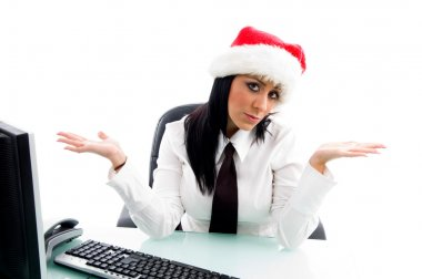 Female sitting idle in office
