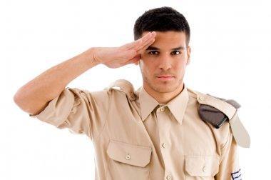 Portrait of saluting soldier