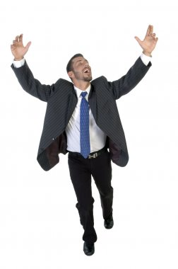 Happy successful young businessman