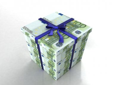 3d gift box wrapped in euro bills