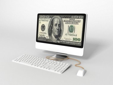 3d computer with dolalr bill