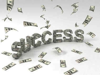 3d success text made of currency notes