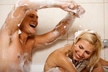 Couple sharing a bath