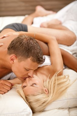 Intimate couple kissing