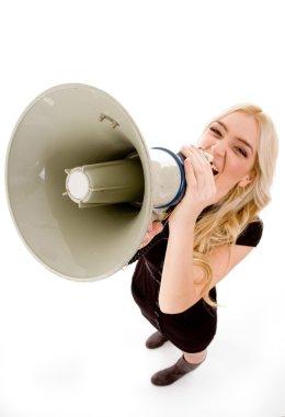 Woman shouting in loudspeaker
