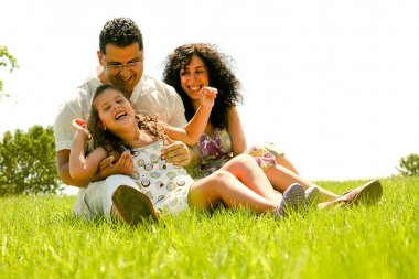 Happy family portrait having fun