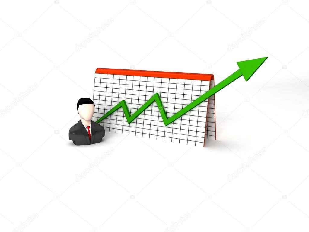 3d businessman with progress graph — Stock Photo