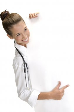 Smiling lady doctor with placard