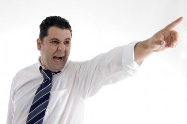 Angry businessman pointing side
