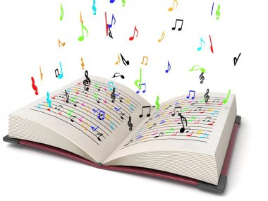 3d flying musical notes from books