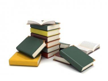 3d pileup books, scattered around