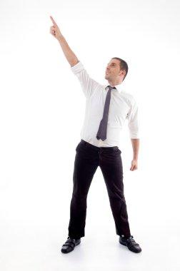 Professional man pointing upwards