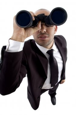Young lawyer looking through binoculars