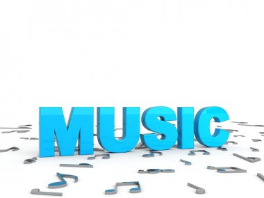 3d blue music text with musical notes