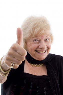 Happy old woman showing thumbs up