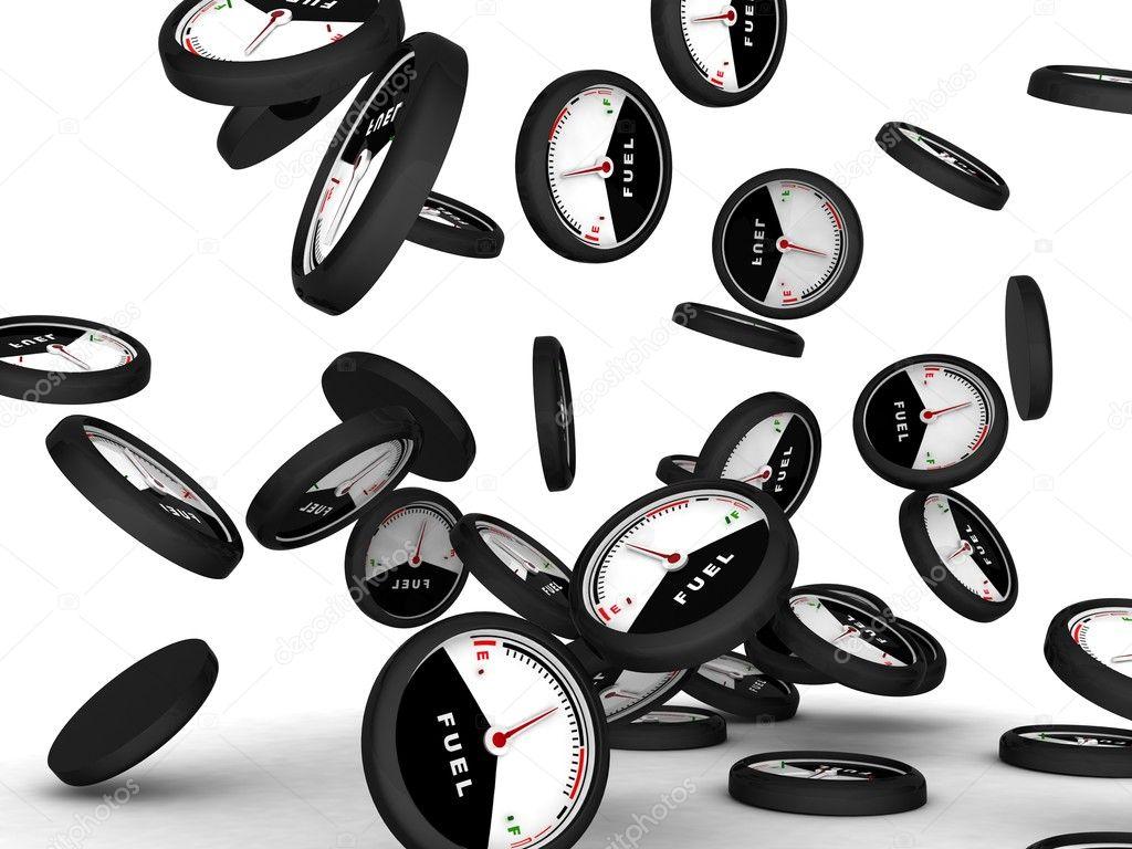 3d image of scattered fuel gauges