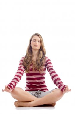 Beautiful female doing meditation