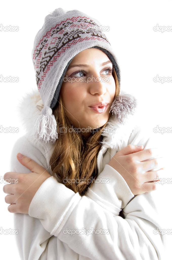 Beautiful young female shivering in cold