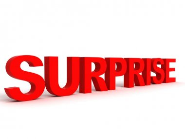 3d surprise word in red