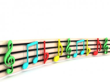 3d colorful musical clefs